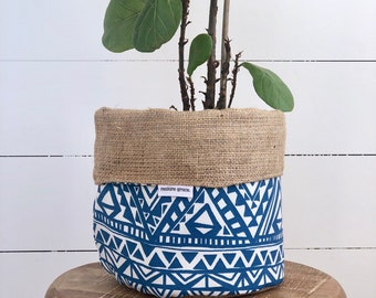 Pot Plant Cover - Blue Tribal and Hessian Reversible