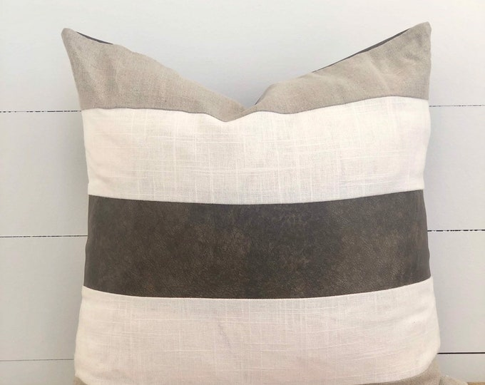 CLEARANCE** Linen & Chocolate Leather Stripe Paneled Cushion Cover