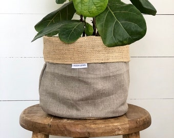 Pot Plant Cover - Natural Linen and Hessian Reversible