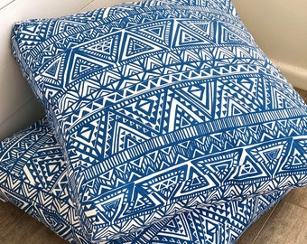 Outdoor Floor Cushion Cover - Blue Aztec