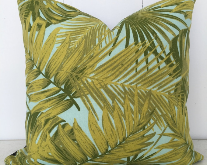 CLEARANCE** Tropical Palms Indoor/Outdoor Cushion cover with faux leather backing