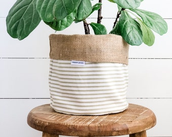 Pot Plant Cover - Olive Ticking Stripe Reversible Hessian