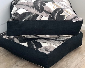 Monochrome Swaying palms indoor/outdoor square floor cushion