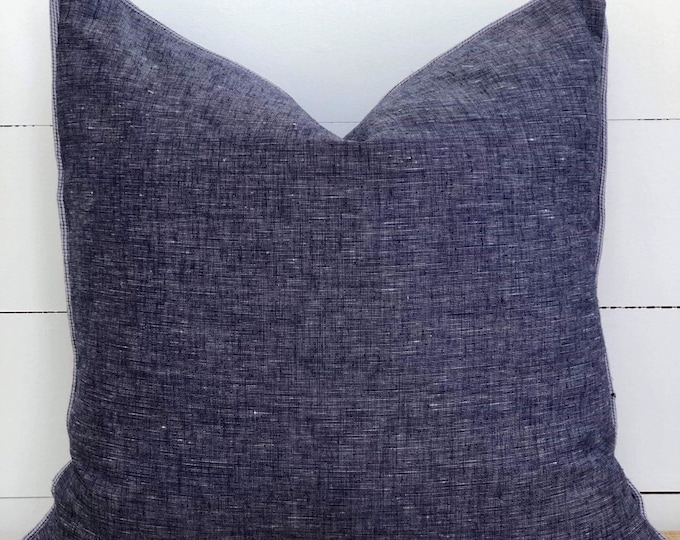 Navy blue lightweight Linen Cushion Cover with denim blue linen piping