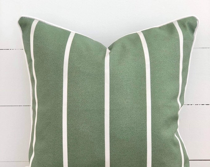 Sage and White Stripe Indoor/Outdoor Cushion Cover with White Piping