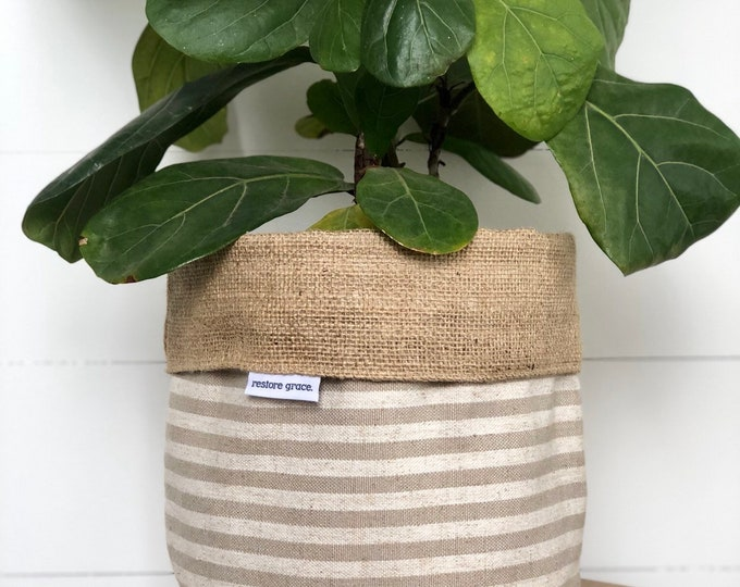 Taupe Scout Stripe Hessian Reversible Pot Plant Cover