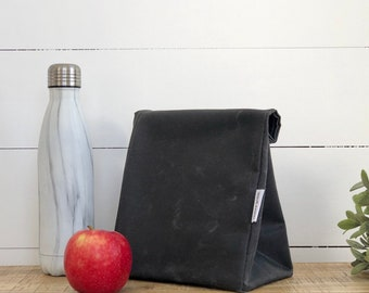 Charcoal Reusable Waxed Canvas Lunch Bag