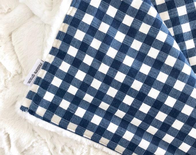 Baby Pram Blanket - Blue Flannel Plaid Adventure