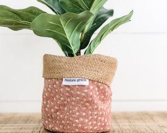 Mini Pot Plant Cover - Blush Fawn