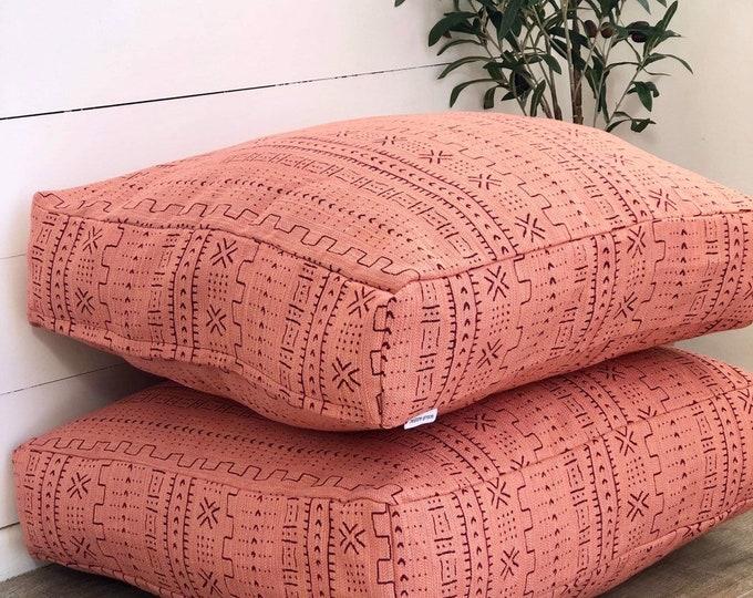 Peach Mudcloth Woven Floor Cushion Cover