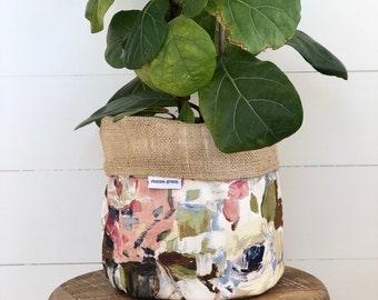 LIMITED EDITION Quartz Peony Reversible Hessian Pot Plant Cover