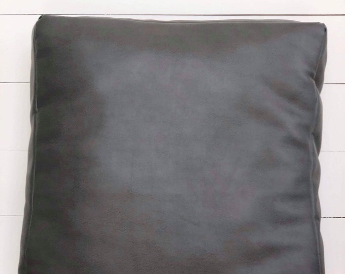 Floor Cushion Cover Charcoal Grey Faux Leather
