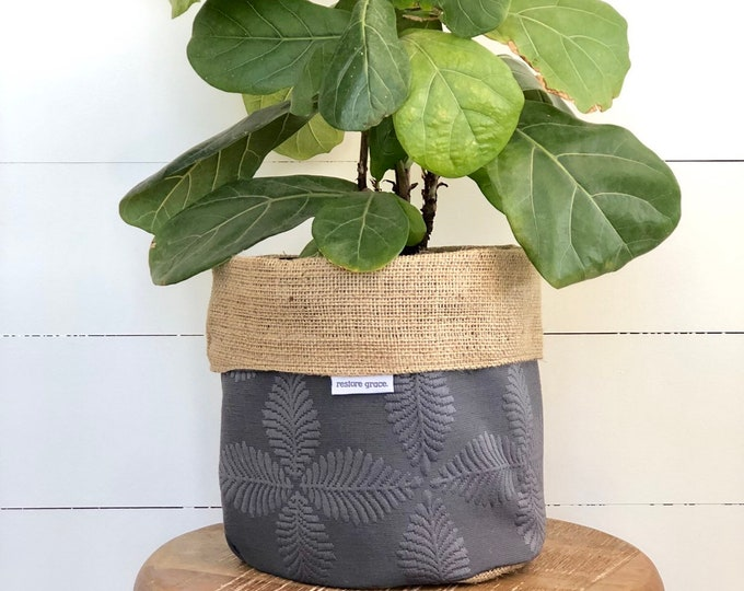 Grey Palm Reversible Hessian Planter Pot Bag