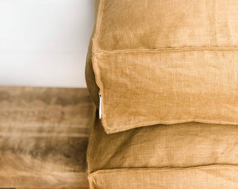 Floor Cushion Cover - Mustard 100% Washed European Linen with Flange