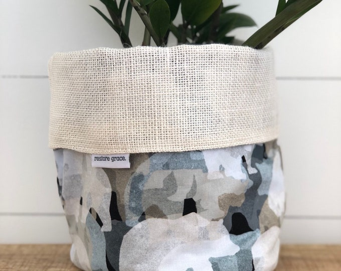 Bears Reversible White Burlap Storage Basket