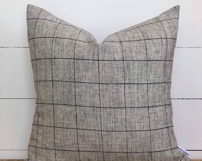 Grid Linen Cushion Cover