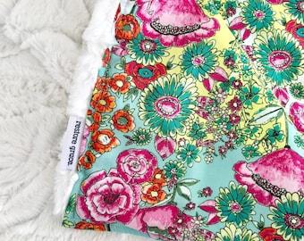 SALE - Wild Flowers Baby Girl Pram Blanket