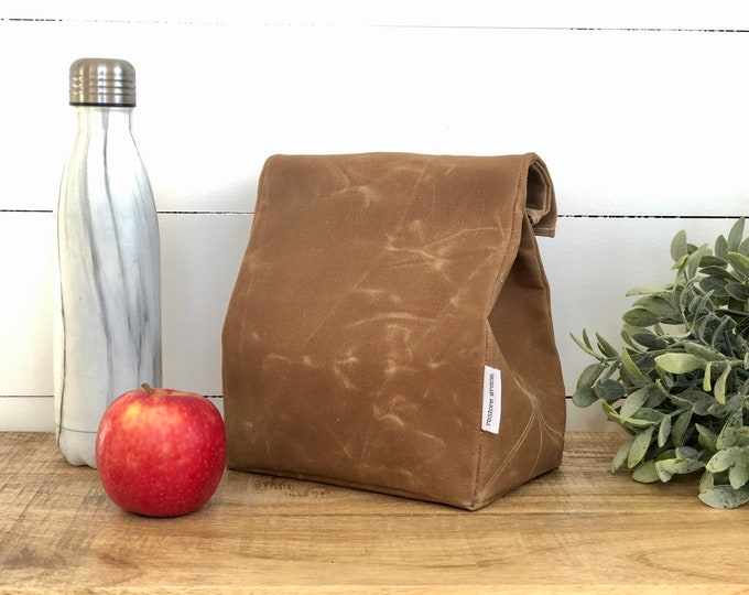 Tan Reusable Waxed Canvas Lunch Bag
