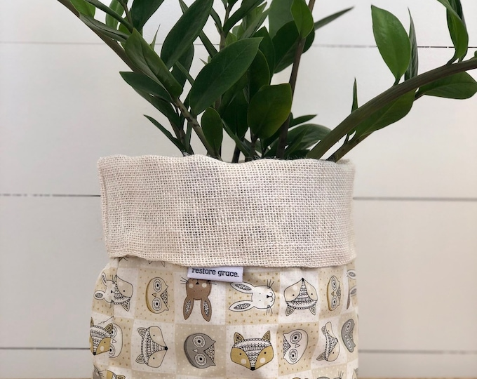 Woodland Animal Reversible White Burlap Storage Basket