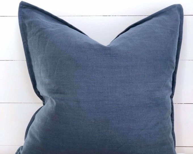 Ocean 100% Washed European Linen Cushion Cover with Flange