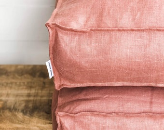 Floor Cushion Cover - Blush Pink Linen 100% Washed European