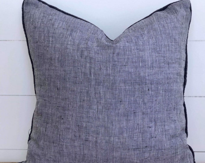 Denim blue lightweight Linen Cushion Cover with navy denim linen piping