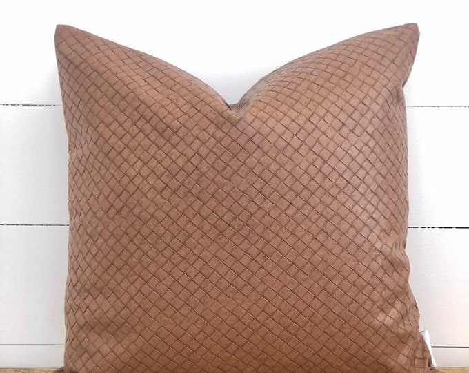 Tan Rustica Faux Leather Cushion Cover