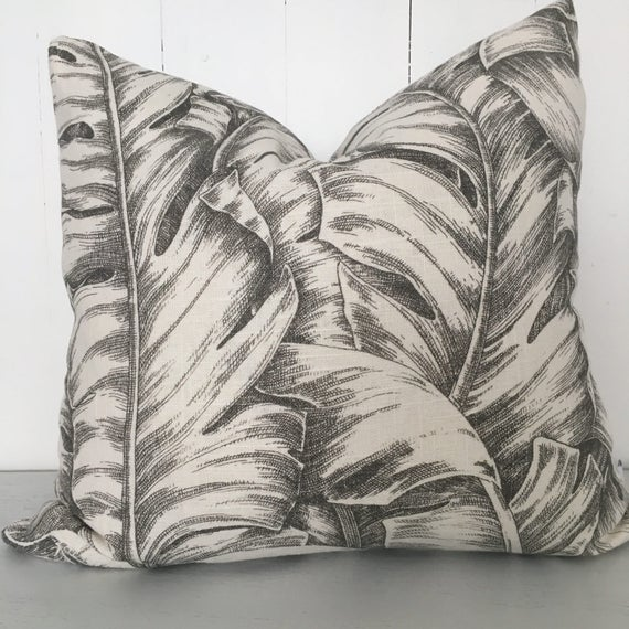 Tommy Bahama Grey et blanc se balançant palmiers housse de coussin