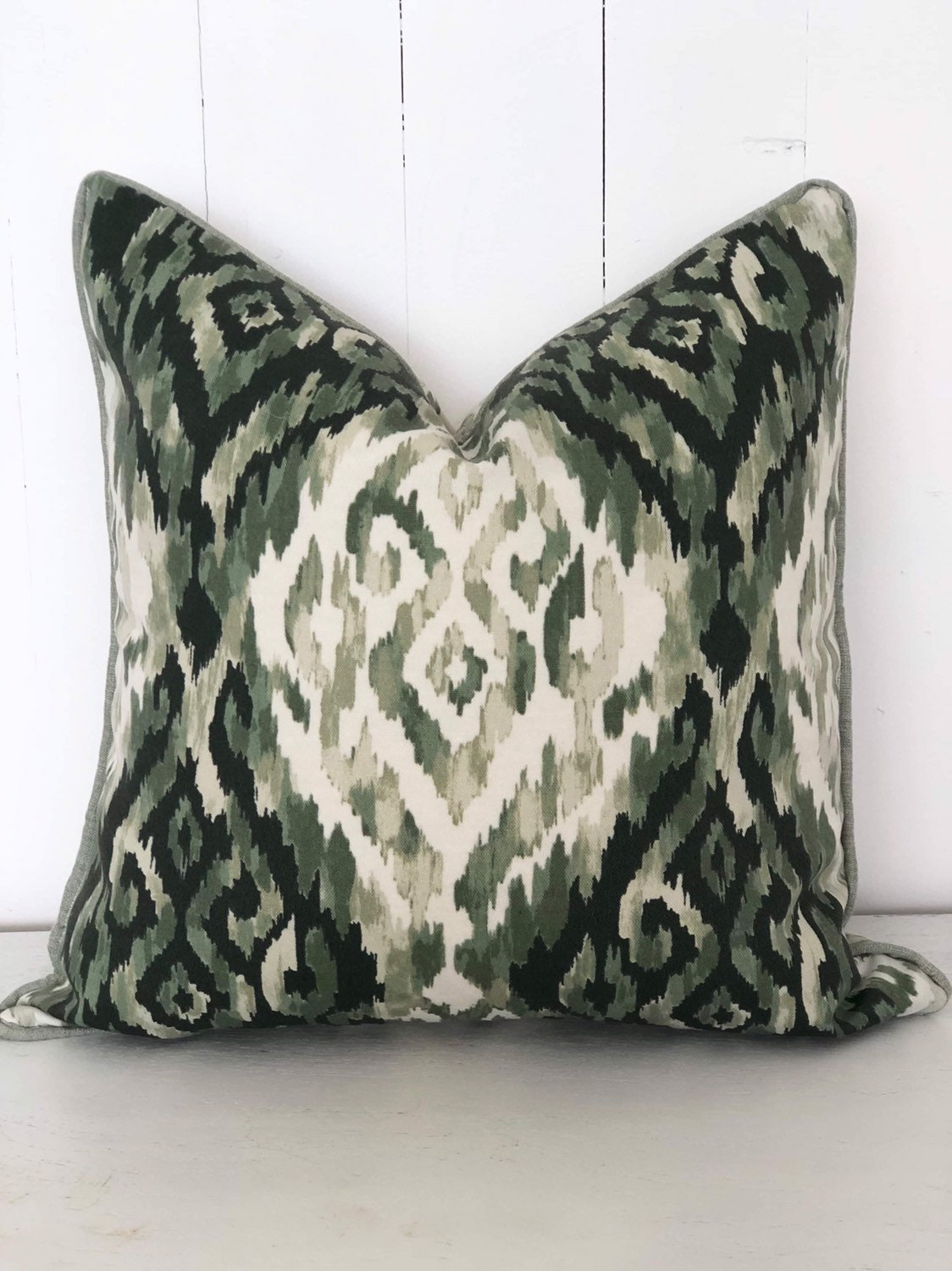 Sale Ikat Mineral Green Tribal Print Indoor Outdoor Cushion Cover