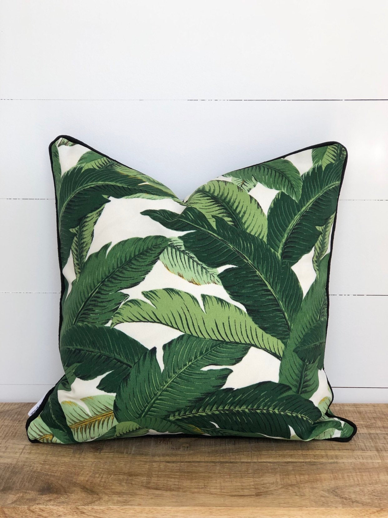 Swaying Palms Indoor Outdoor Cushion Cover With Black Piping