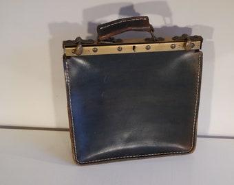fdb0484b83 Sac de greffier/ sac en cuir/cartable/serviette/porte-documents en cuir 4  poches vintage 50s