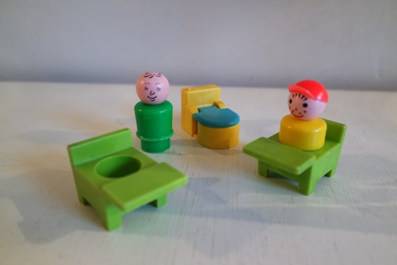 70cb84e0585 Vintage 70s Fisher Price lot of 2 school desks 1 toilet and 2 image 0 ...