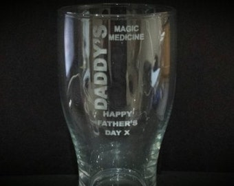 Father's Day Pint Glass, Laser Engraved, Gift