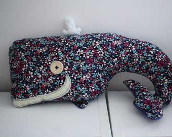 Helen the cuddly toy whale - Helen toy blue whale Navy flowers. Decoration.