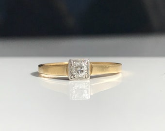 Antique ~ 18ct Gold and Platinum Diamond Solitaire ~ Engagement Ring ~ Size UK N / US 6.5