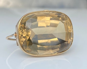 Antique ~ Large Citrine Brooch ~ 15ct Yellow Gold ~