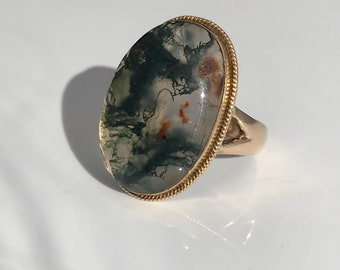 Antique ~ Victorian ~ Moss Agate ~ 10ct 10k Gold Ring ~ size UK Q or US 8