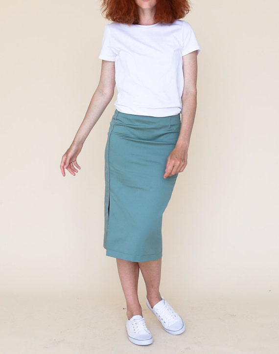 Summer map skirt skirt skirt pencil skirt green Road skirt printed skirt midi turquoise cloth blue slashed skirt slit Organic xdqww8tI