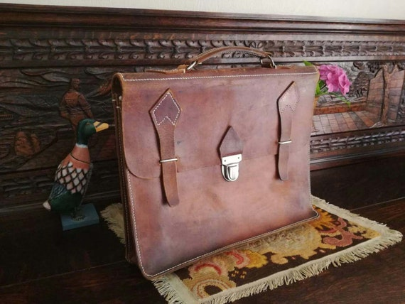 """Vintage Tanned Leather Bag, Rare Collection. """"P.T."""