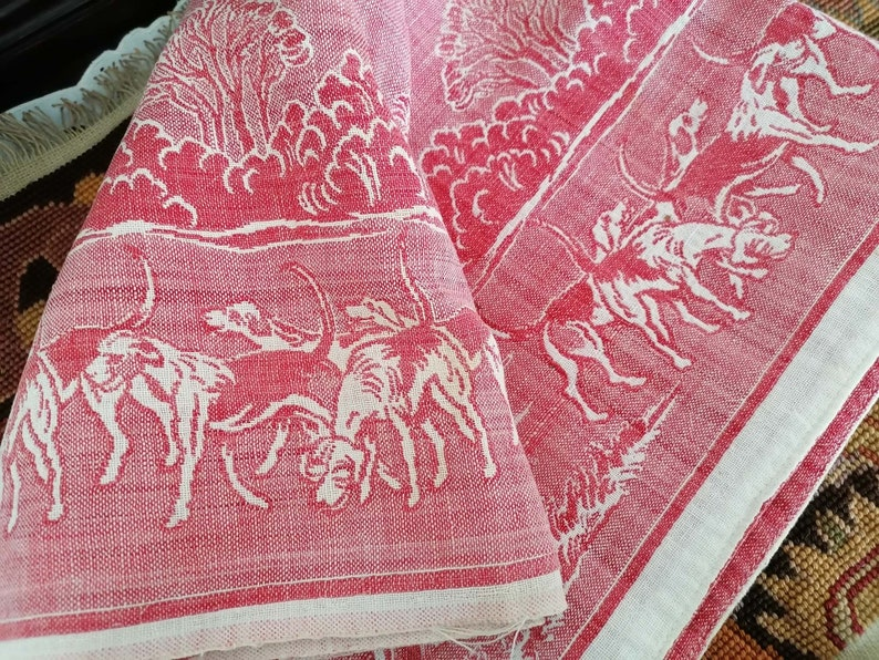 Checkered pattern and main deer Very detailed table Old French cotton tablecloth around Hunting scene pattern Vintage 191020s.