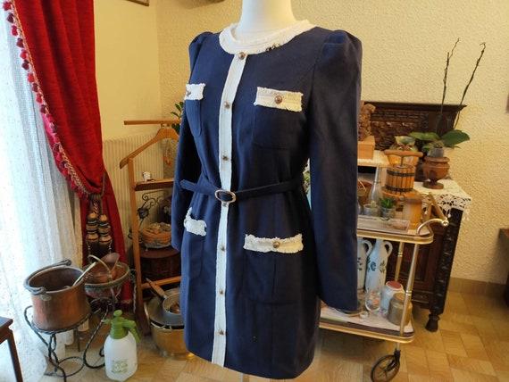 Vintage Wool Cloth Dress, Silk Lining, Knot Belt.