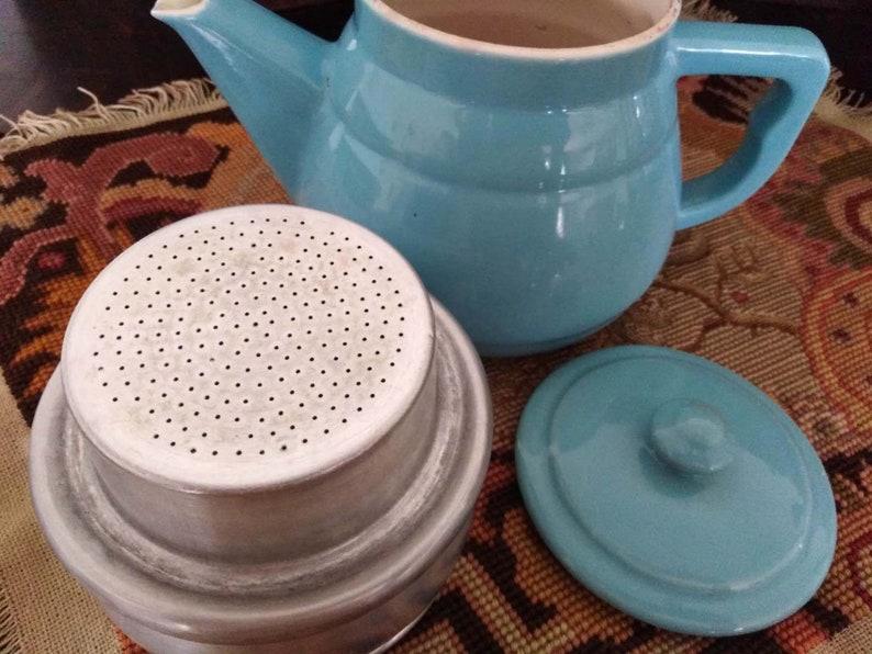 Vintage Coffee Pot,Vintage French porcelain rustic kettle in a farm kitchen,Art Nouveau Fran\u00e7ais.Vintage of the 1920s