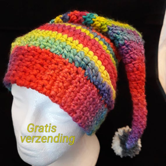 Pixie hat for adults rainbow colours with pompom Rainbow hat  63211f81b00