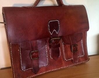 c40618aca7b9 Handmade vintage leather Moroccan leather shoulder bag satchel briefcase