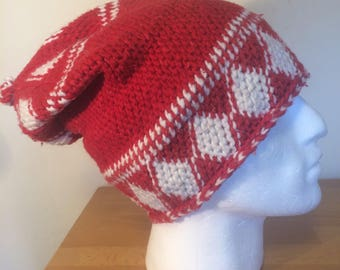 d798674b54d Hand made warm unisex red   white long hat