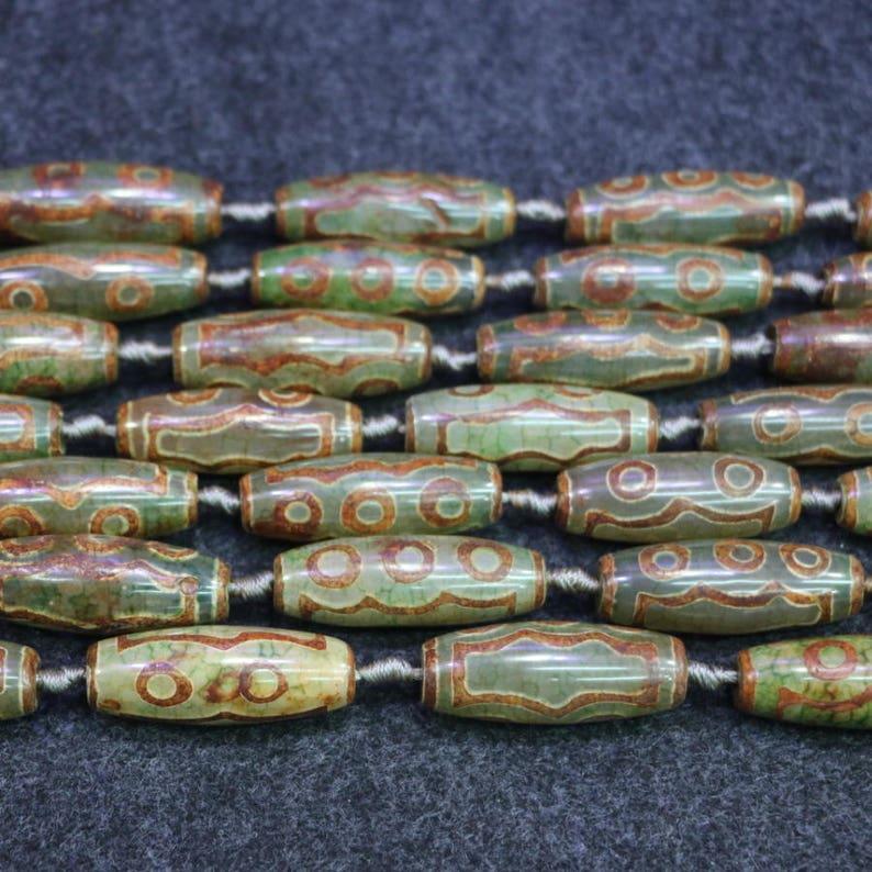 14x40mm Sinkiang Eyes Dzi Tibetan Agate Beads 2strands Natural Tibetan Agate Connector Pendants DIY Jewellry Making Gemstone Beads