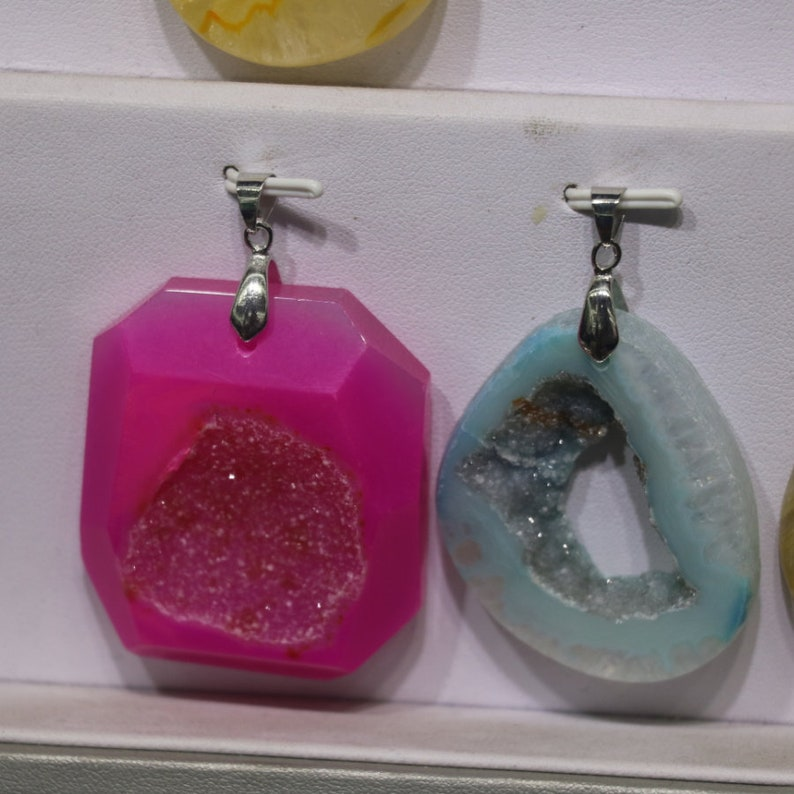 5pcslot Druzy Drusy Quartz Jewelry Freeship diy Necklace A0745 35MM Natural Stone Dyed Pink Quartz Gemstone Agate Pendant