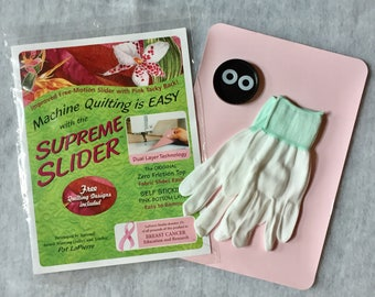 Set of Supreme Slider mat for free motion quilting (small or queen size) + pair of Quilting Gloves + 2 Magic Bobbin Genies (washers)