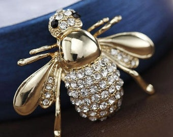 Bee brooch/pin embellished with rhinestones
