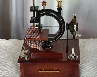 Vintage sewing machine music box